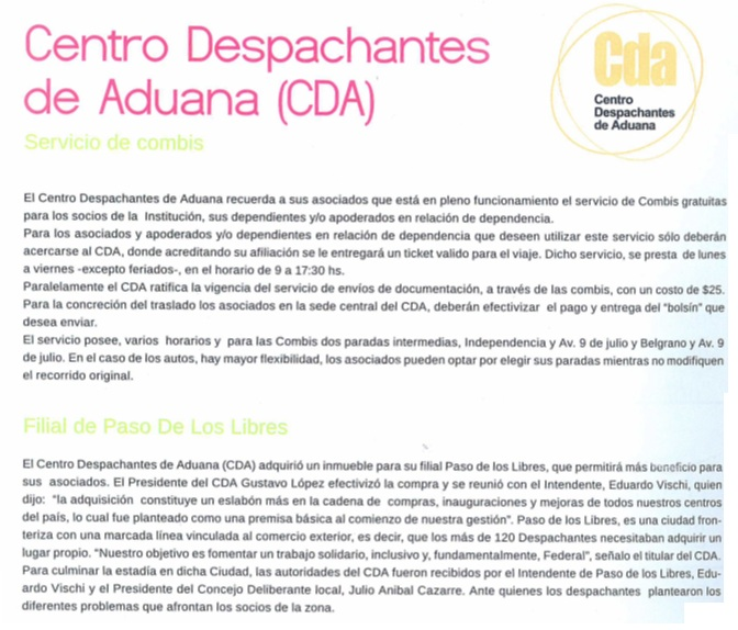 CENTRO DESPACHANTES DE ADUANA (CDA)